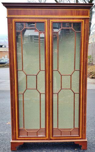 Large Antique ENGLISH Edwardian Two Door INLAID CURIO CABINET Vitrine BOOKCASE