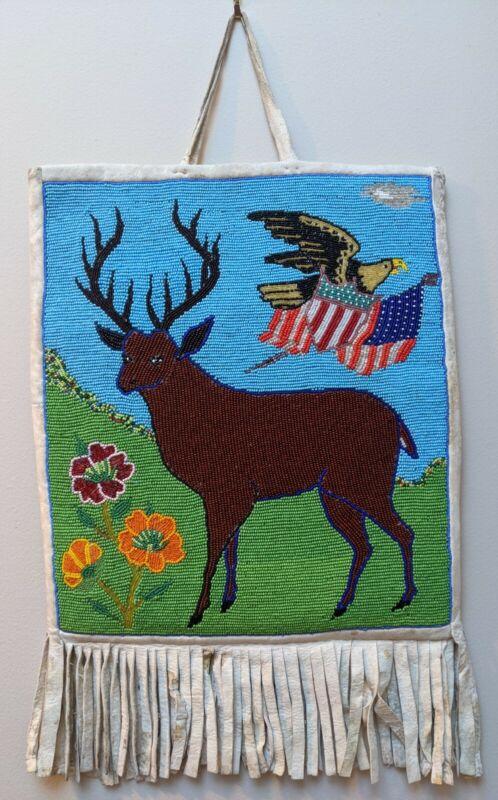 Plateau Native American Beaded Bag circa mid 1900s. Pictorial Elk Flag Eagle