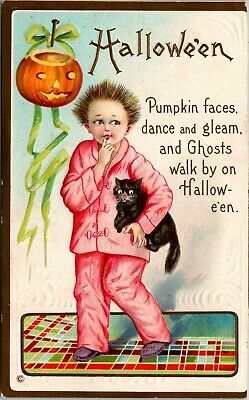 Vtg 1910 Halloween, Scared Child w/ Black Cats, Jack-o-Lantern Embossed Postcard