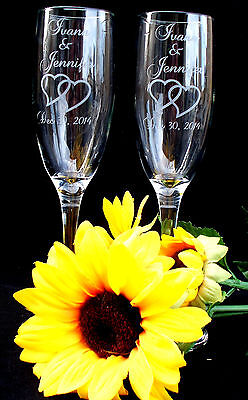 Qty-2 Personalized Champagne Flute Engraved w Couple's Names and Wedding Date - Personalized Champagne Glasses