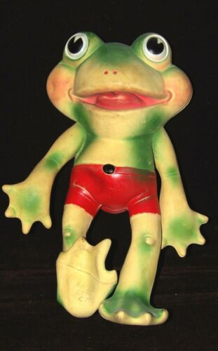 "RARE 1st version REMPEL 50s Croaker Frog Peepers Froggy ~11"" rubber squeeze toy"