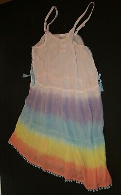 New Justice Girls Summer Cover Up Dress 10 year Ombre Pompom 100% Viscose