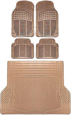 5pc All Weather Heavy Duty Rubber Universal Floor Mat Beige 2 Row  Trunk Liner