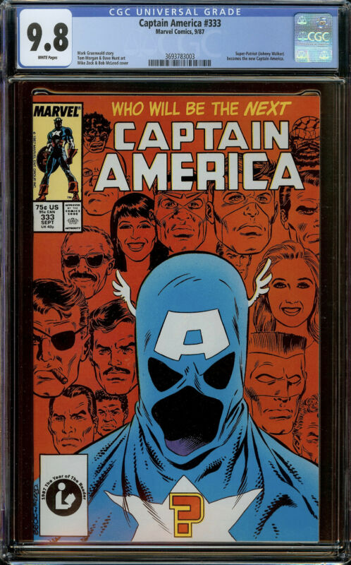 Captain America #333 CGC 9.8 White Pages - Johnny Walker Becomes new Cap