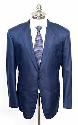 NWT ISAIA Napoli Solid Navy 100% Silk Modern Slim Fit Sport Coat Jacket 58 48 R