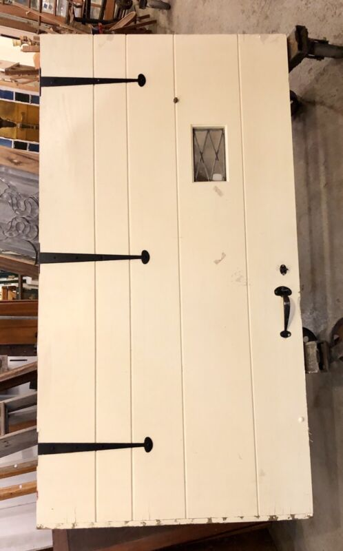 Vintage Solid & Heavy 1930s Cottage Style Exterior Door Hand Forged Wrought Iron