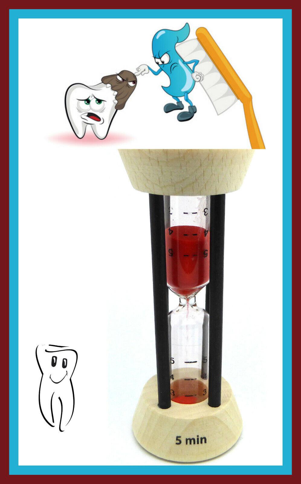 Zahnputzuhr/Sanduhr aus Buchenholz 3/4/5 Minuten,roter Sand,Zahnpflege,Zahnfee