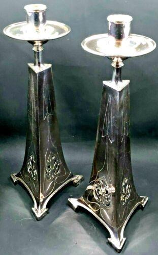"2 Antique Art Nouveau Candlesticks Holders Silver Plated Elegant 12"""
