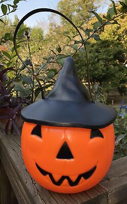 Vtg Empire Blow Mold Halloween Jack O Lantern Pumpkin Candy Bucket Witch Hat HTF