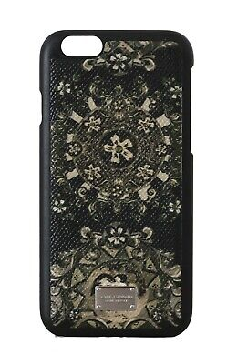 NEW $200 DOLCE & GABBANA Phone Case Black Leather Green Carretto Print iPhone6