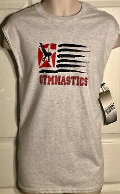 GK SLVLS T-SHIRT MENS LARGE GRAY COTTON GYMNASTICS STILL RINGS GRAPHICS AL NWT
