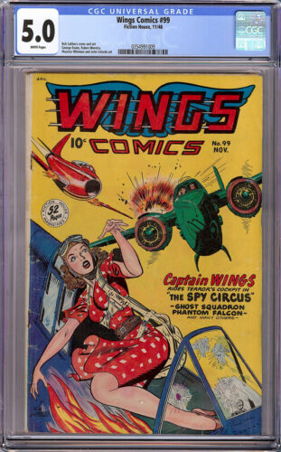 Wings Comics #99 CGC 5.0 VG/FN White Pages Bob Lubbers Good Girl Cover 1948