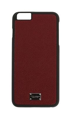 NEW $160 DOLCE & GABBANA Phone Case Skin Bordeaux Leather Silver Logo iPhone6