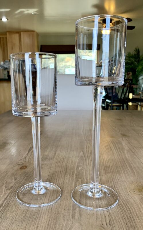 """Pair Of Crate and Barrel London Clear Hurricane Candle Holders RARE 10"""" & 12"""""""