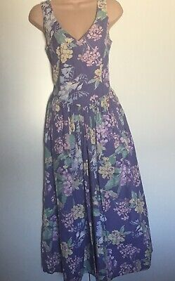 BNWT Lovely Vintage Laura Ashley Sleeveless Floral Cotton Midi Dress 10