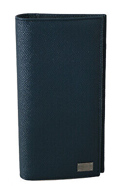DOLCE & GABBANA Wallet Blue Dauphine Leather Zipper Bifold Mens Long RRP $380