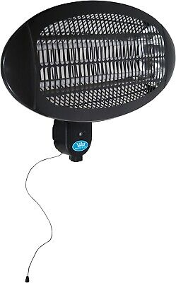 Premiair Black 2kW Wall Mounted Outdoor Garden Patio Heater with 3 Heat Settings