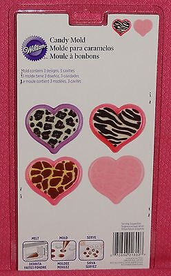 Heart Animal Print Chocolate Candy Mold,Bonbon,Wilton,Clear Plastic,2115-1800