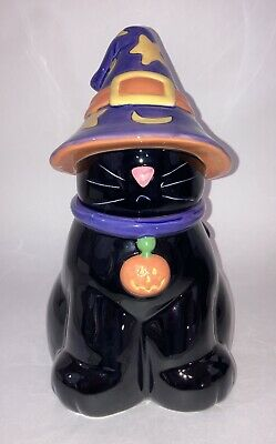 Harry & David Black Cat In Witches Hat Halloween Novelty Holiday Cookie Jar Box