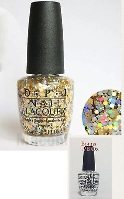 OPI Spotlight REACHED MY GOLD Gold Glitter Nail Polish .5 oz G38 Bonus Chip Skip
