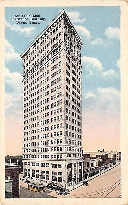 Waco Texas TX 1920s Postcard Amicable Life Insurance Building  for sale  Shipping to Canada