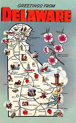 Delaware State Highway Map Postcard~Canning~Peaches~Hunter~Strawberries~1950s PC