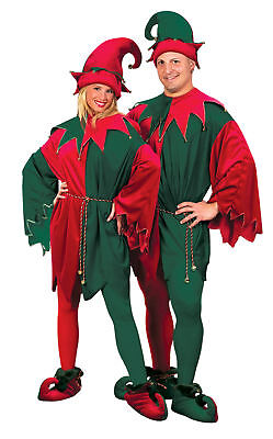 Deluxe Elf Velvet Adult Costume Red Green Christmas Santa Helpers Outfit