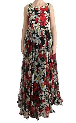 NEW $11200 DOLCE & GABBANA Dress Silk Floral Crystal Long Maxi Gown IT44 /US10/L