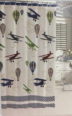 "KASSATEX Bambini ""In Flight"" Kid's Fabric Shower Curtain Retro Planes Gondolas"