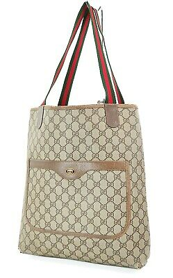 Authentic Vintage GUCCI Brown GG PVC Canvas and Leather Tote Bag Purse #37320