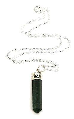 Verde Natural Mica Moscovita Colgante Cristal 45.7cm Cadena Real Gema Joyería