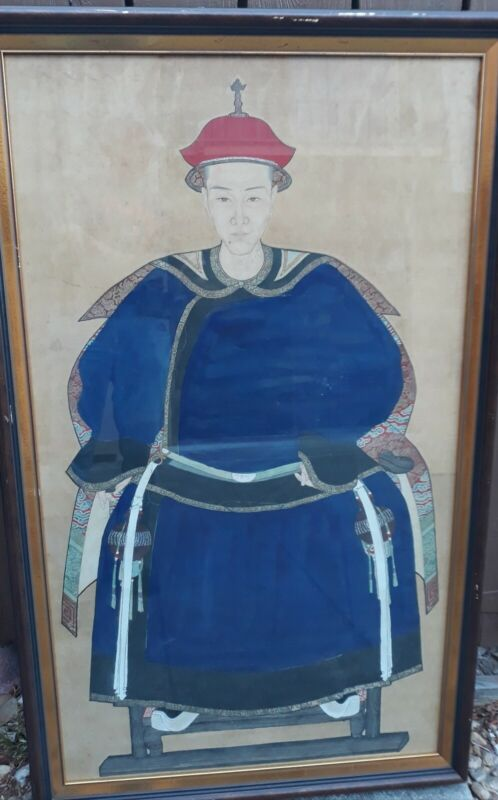 ANTIQUE LARGE CHINESE ANCESTRAL SILK PAINTING