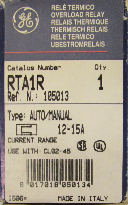 General Electric GE RTA1R Overload Relay RTA  12-15 Amp 105013