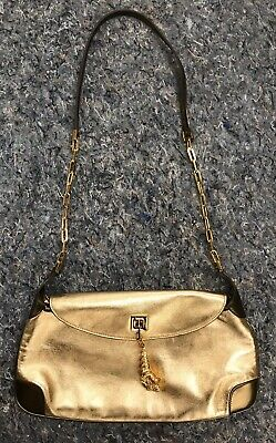 Vintage GUCCI Tom Ford Era Gold Bronze Leather Tiger Charm Shoulder Bag Purse