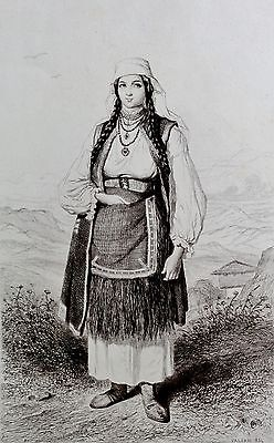 Valerio , Theodore (1819-1879) Radierung 1855: FEMME MARIEÉ DU VILLAGE DE SKRAD