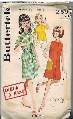 2691 Vintage Butterick Schnittmuster Mädchen Kleid Strandkleid Bluse Shift 8 (Mädchen Shift Kleider)
