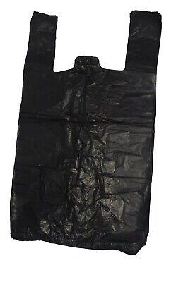 500 x Black Heavy Duty Plastic Vest Wine/Bottle Carrier Bags! | 8