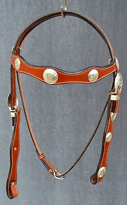 Chestnut Leather Silver Show Concho Bridle, Breastcollar Set New
