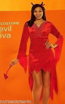 Women Halloween Costumes Devil ( DEVIL DIVA HALLOWEEN COSTUME WOMEN'S MEDIUM RED DRESS VELOUR SEQUIN)