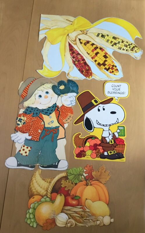 Vintage THANKSGIVING FALL Snoopy +3 More  Die Cut Cardboard Decorations Lot of 4