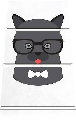 Hipster Katze mit Brille 3-Teiler Leinwandbild Wanddeko Kunstdruck