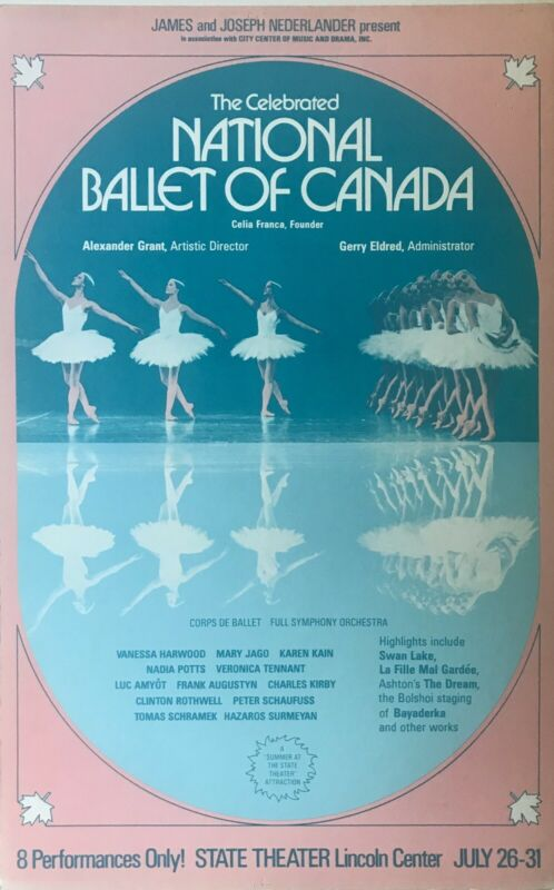 National Ballet of Canada New York State Theater 1978 Window Card Poster