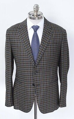 NWT CARUSO Brown Gingham Alpaca Wool Cashmere Notch Lapel Sport Coat 38 S EU 48
