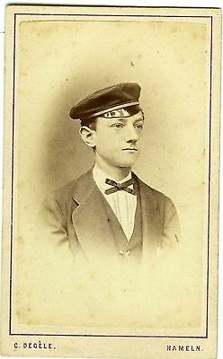 PHOTO CDV HAMELN Germany Degèle un élève pose uniforme circa 1880
