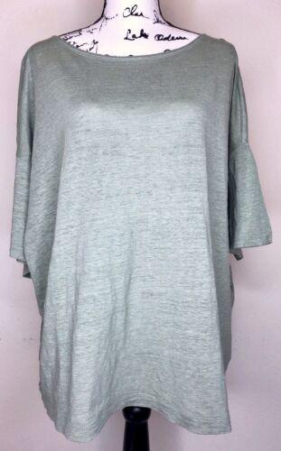 Eileen Fisher Green Organic Linen Oversized Knit T