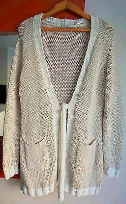 HUBERT GASSER Women's Open Front Cotton Knit Tie-up Cardigan Sweater size Large