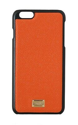 NEW $180 DOLCE & GABBANA Phone Case Solid Orange Leather Gold Logo iPhone6 Plus