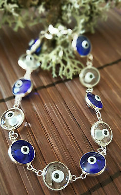 Sterling Silver Indigo Clear Murano Crystal Evil Eye Good Luck Bracelet Protect