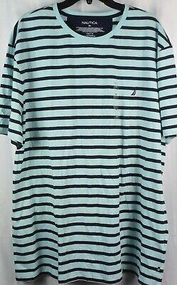 NAUTICA Men's Casual Crew Neck Short Sleeve Aqua Striped Shirt. NEW NWT. 3XL