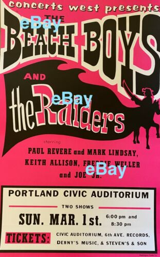 Paul Revere & Raiders/Beach Boys 1970 Poster Autographed to You